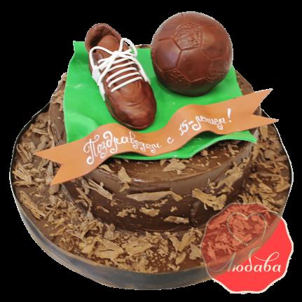 Торт футбольный мяч и бутса №1431