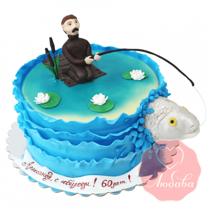 Торт на юбилей рыбаку №1491