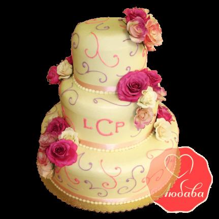Свадебный Торт с розами №1513