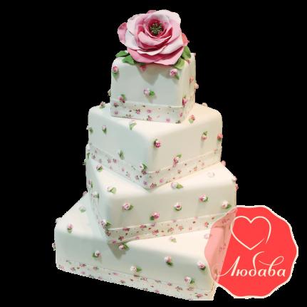 Свадебный Торт с розой №1514