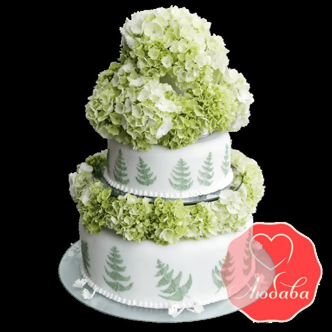 Свадебный Торт с гортензией №1517