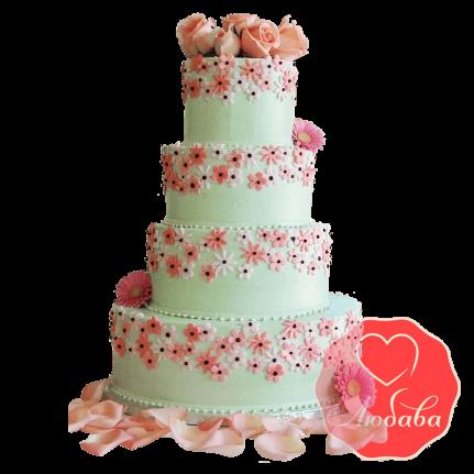 Свадебный Торт с цветами №1519