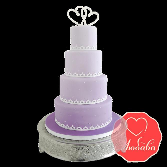Свадебный Торт с сердцами №1520
