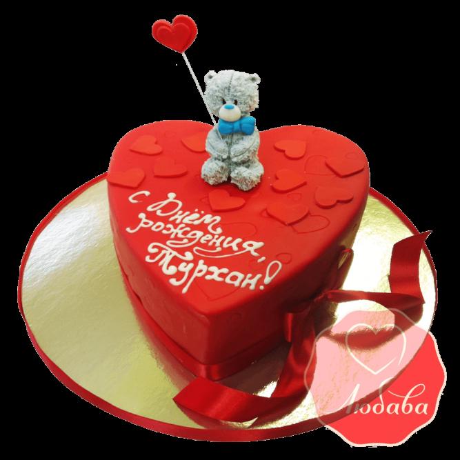Торт сердце с медведем №1526