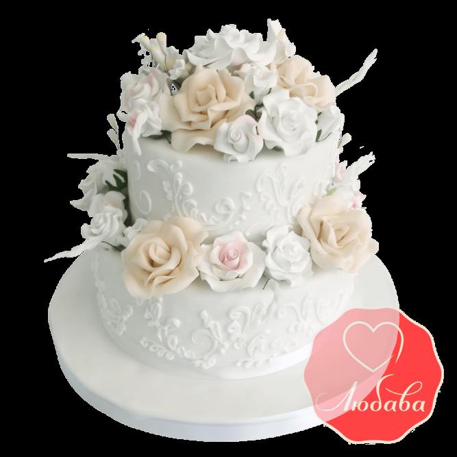 Свадебный Торт белый с цветами №1537