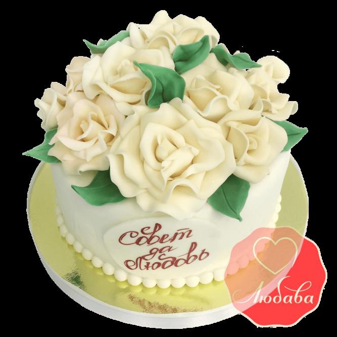 Свадебный Торт белый с розами №1538