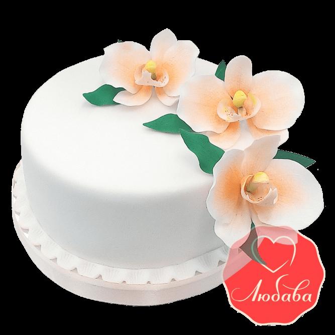 Свадебный Торт белый с орхидеями №1540