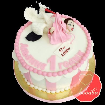 Торт на 1 годик с аистом №1541