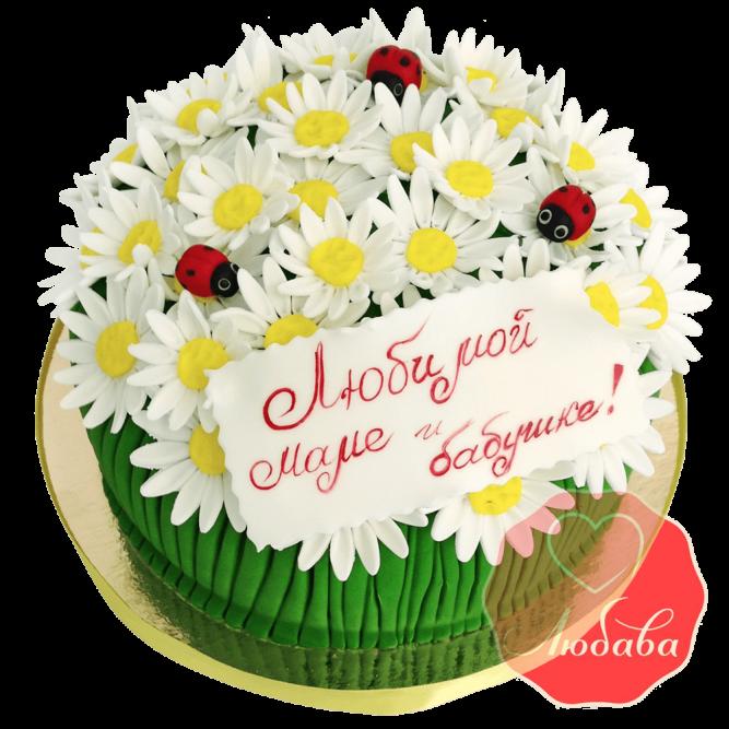 Торт для мамы с ромашками №1542