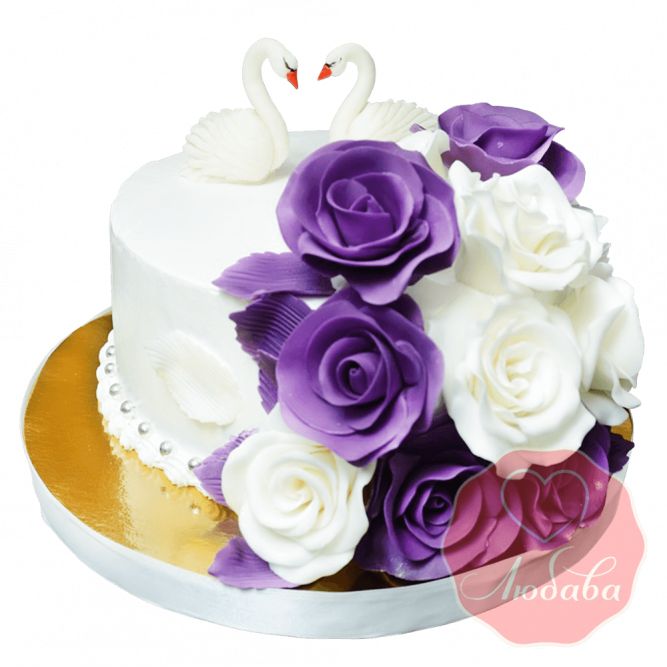 Свадебный торт с лебедями и розами №1657
