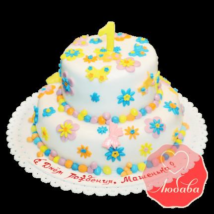 Торт детский с цветами и бабочками №1665