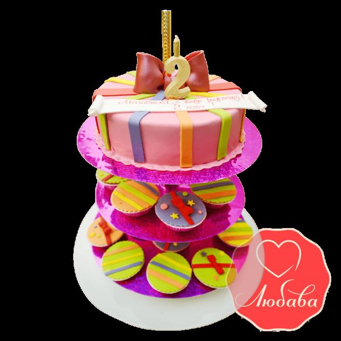 Торт детский с капкейками №1666