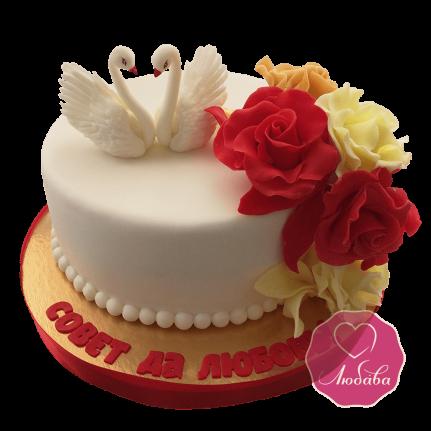 Свадебный с лебедями и розами №1673