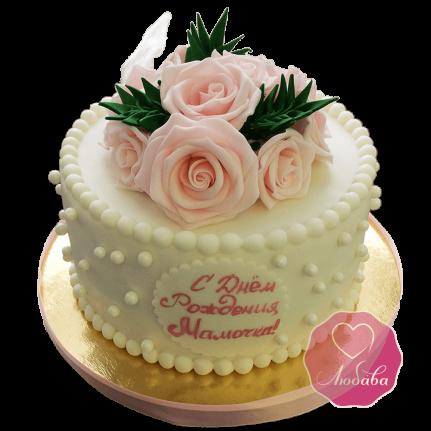 Торт С днем рождения мама с цветами №1697