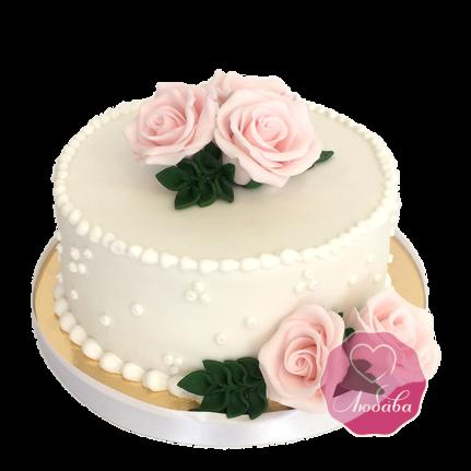 Торт свадебный одноярусный с розами №1720