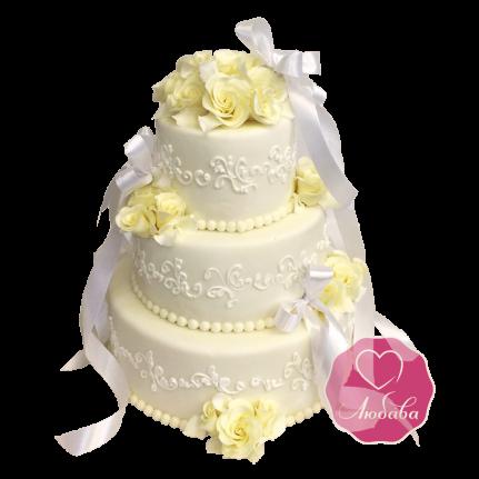 Торт свадебный с розами и бантом №1730