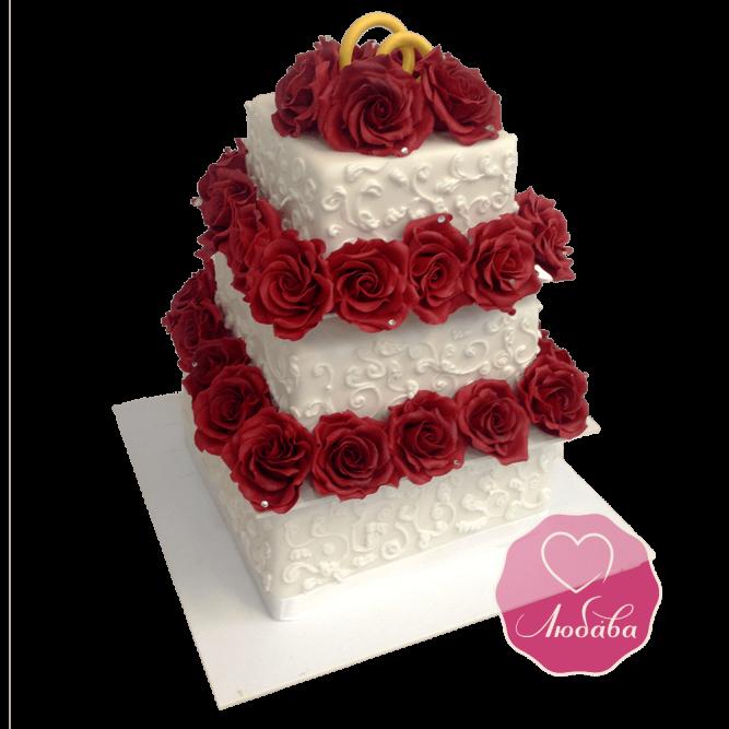 Торт свадебный с бордовыми розами №1741