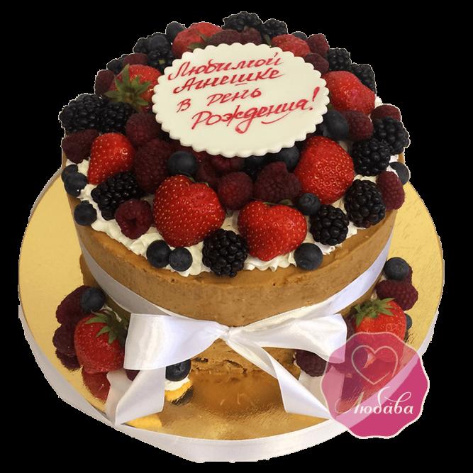 Торт ягодный на день рождения №1747