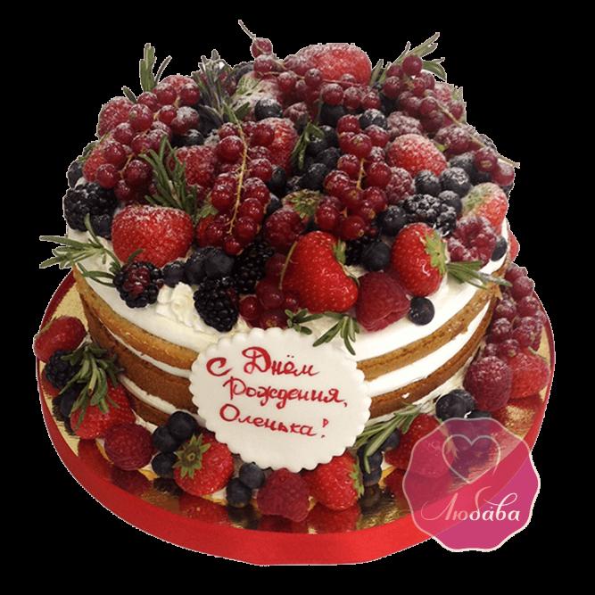 Торт ягодный с надписью №1750