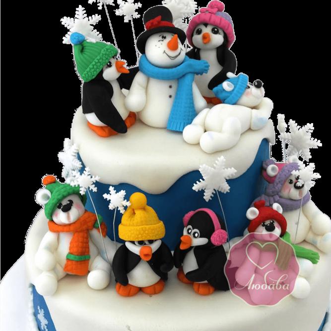 Торт Новогодний Снеговик с друзьями №1754