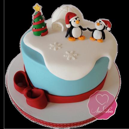 Торт Новогодний с пингвинами №1759