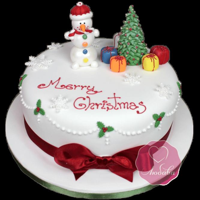 Торт Новогодний на Рождество со снеговиком №1761