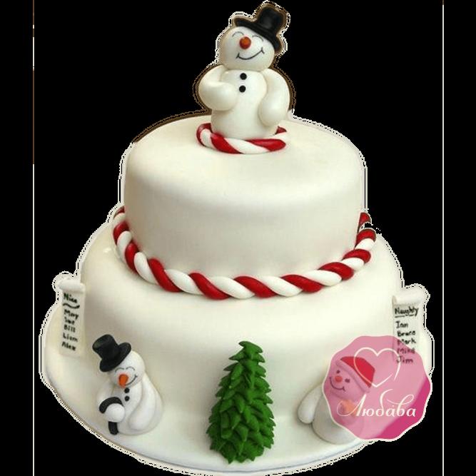 Торт Новогодний со снеговиками №1762