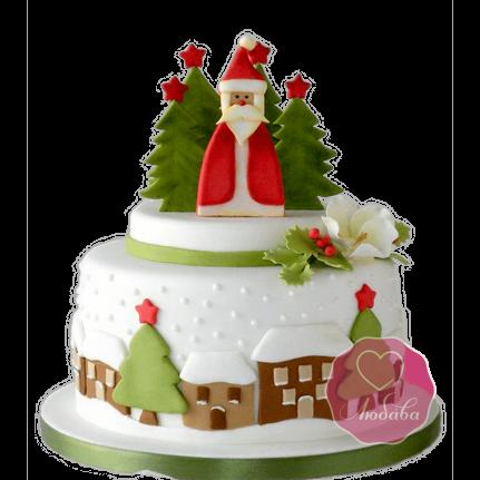 Торт Новогодний Дед Мороз в лесу №1763