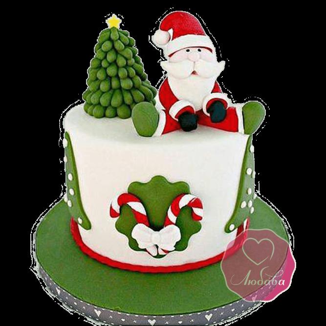 Торт Новогодний Дед Мороз под елкой №1765