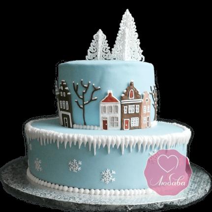 Торт Новогодний зимний город №1768