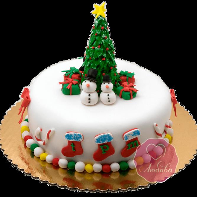 Торт Новогодний снеговики под елкой №1771