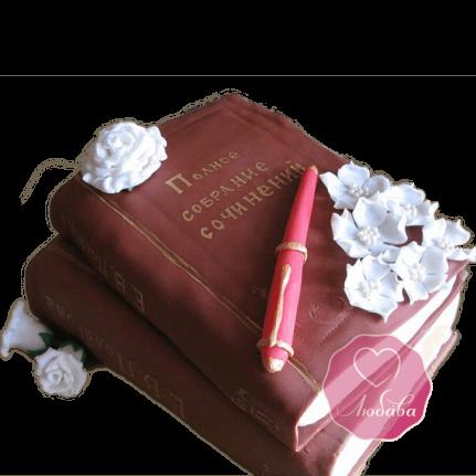 Торт на день рождения писателю книга и ручка №1791