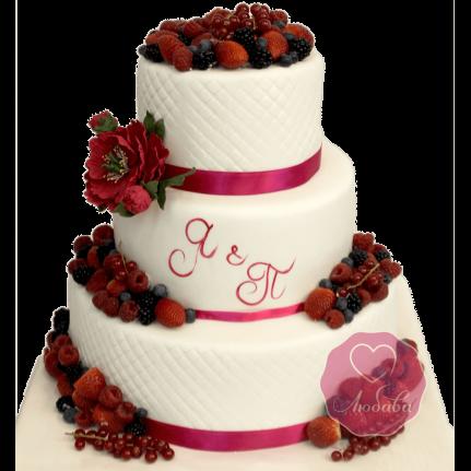 Торт свадебный с фруктами №1800