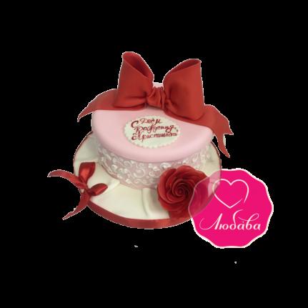 Торт на день рождения с розой и бантом №1811