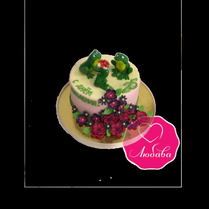 Торт на день рождения с лягушками №1814