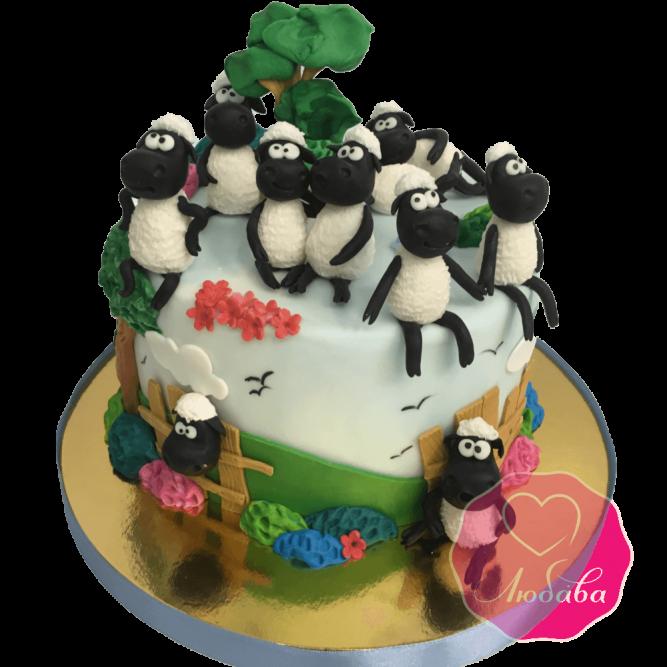 Торт детский с овечками №1815