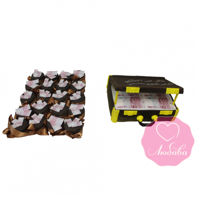 Торт и капкейки на день рождения чемодан с евро №1824