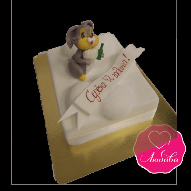 Торт на день рождения зайка с бутылкой №1841
