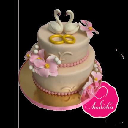Торт свадебный с лебедями и кольцами №1846