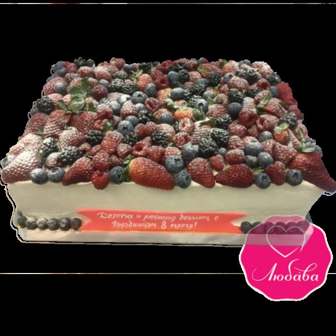 Торт праздничный с ягодами на 8 марта №1862