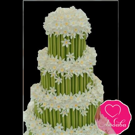 Торт свадебный с нарциссами №1868