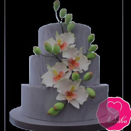 Торт свадебный серый №1869