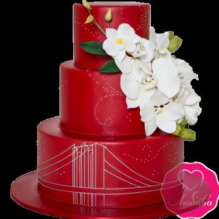 Торт свадебный красный в Английском стиле №1870