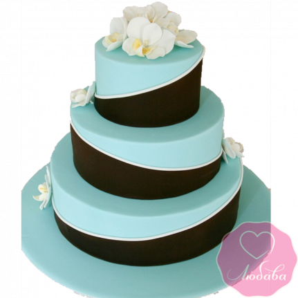 Торт свадебный голубой №1871