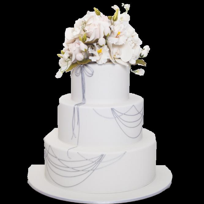 Торт свадебный с цветами №1872