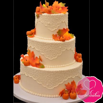 Торт свадебный коралловый с цветами №1874