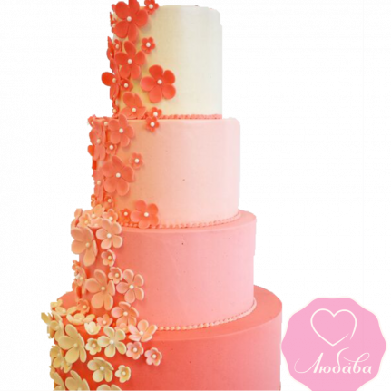 Торт свадебный коралловый №1875
