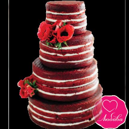 Торт свадебный марсала с маками №1876