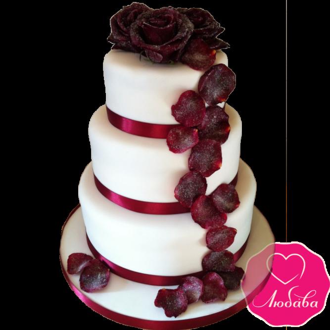 Торт свадебный марсала с лепестками роз №1877