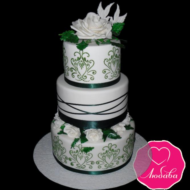 Торт свадебный изумрудный с розами №1878